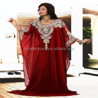Dubai Chiffon Kaftans Abaya For Women,New Design Islamic dress Women Kaftan Abaya 2017 with beaded neck