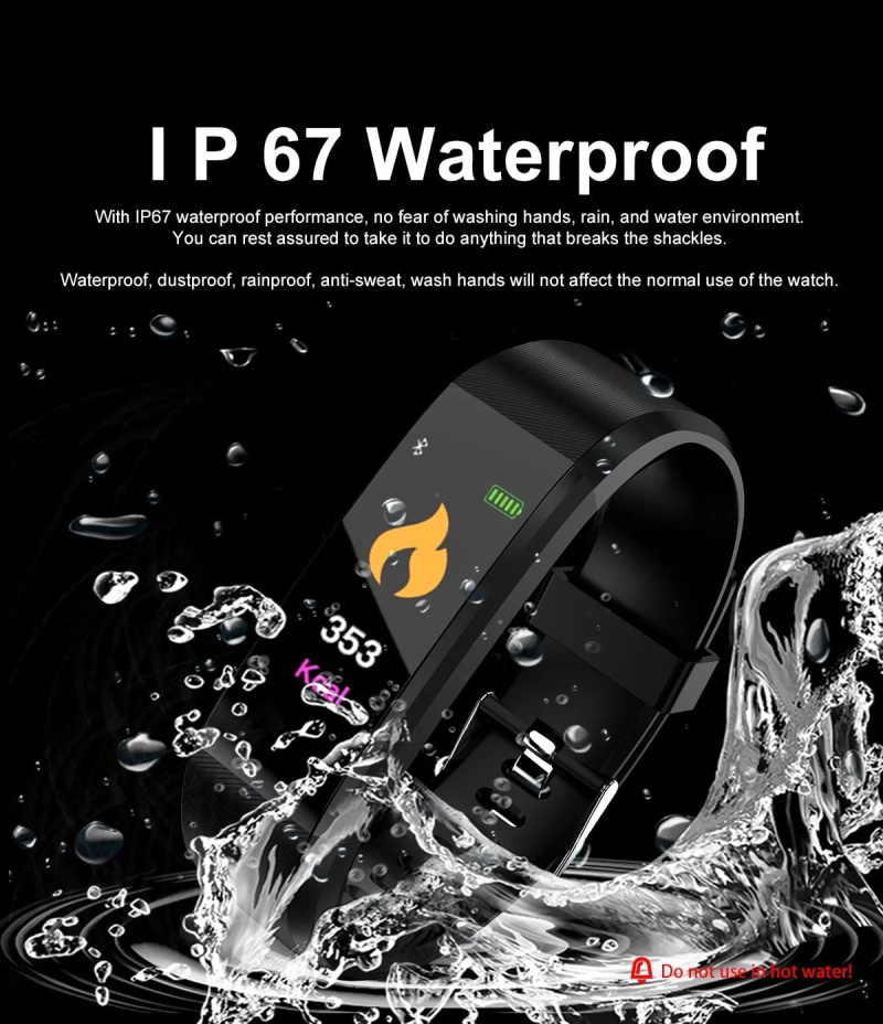 Special Offer  Smart Bracelet 115 Heart Rate Monitor Blood Pressure Fitness Watch Pedometer Fitness Bracelet
