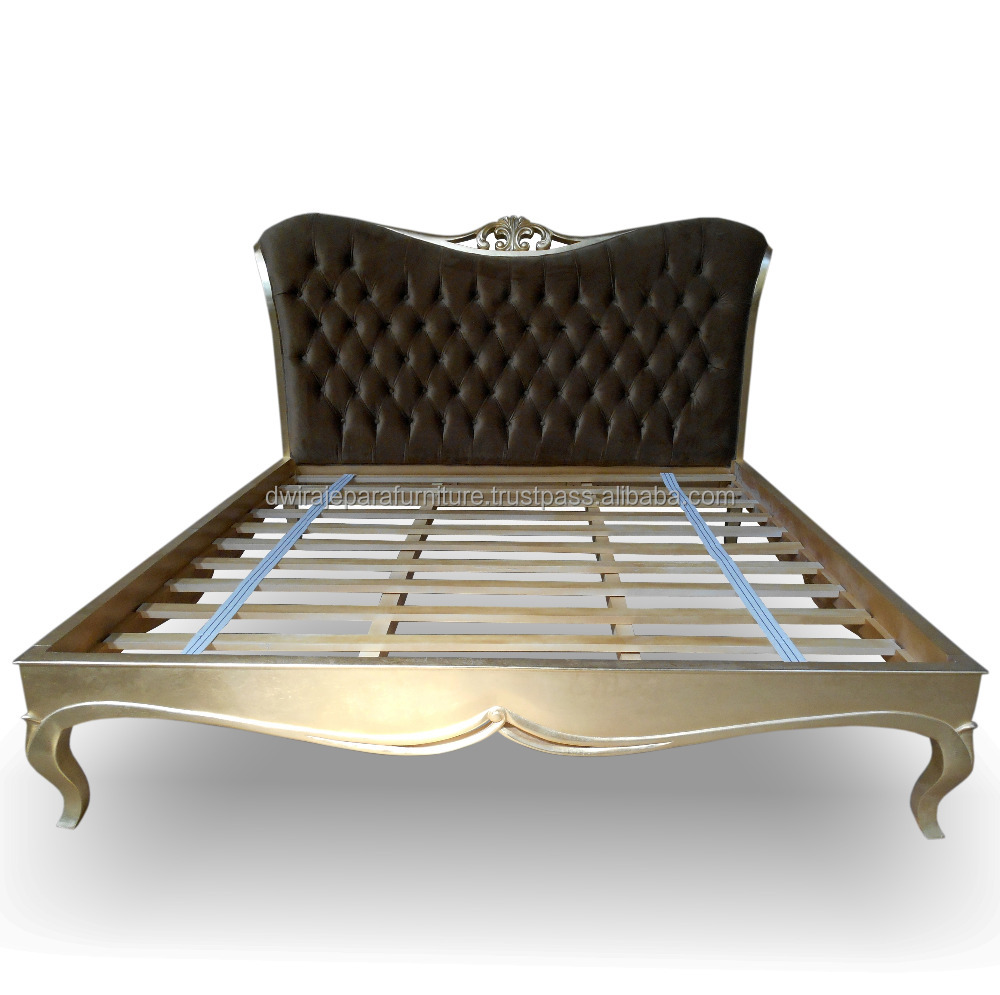 Upholstered gold bedroom furniture bed mahogany