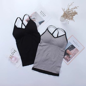 Sling Beauty Back Vest Female Sexy Tank Top With Chest Pad Bottoming Underwear Wrapped Casual Camis