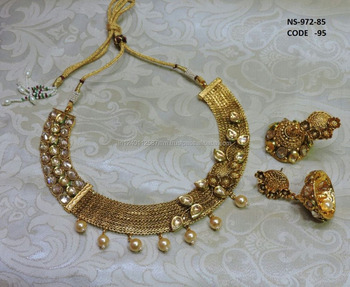 Antique 18k Gold Plated Indian Kundan