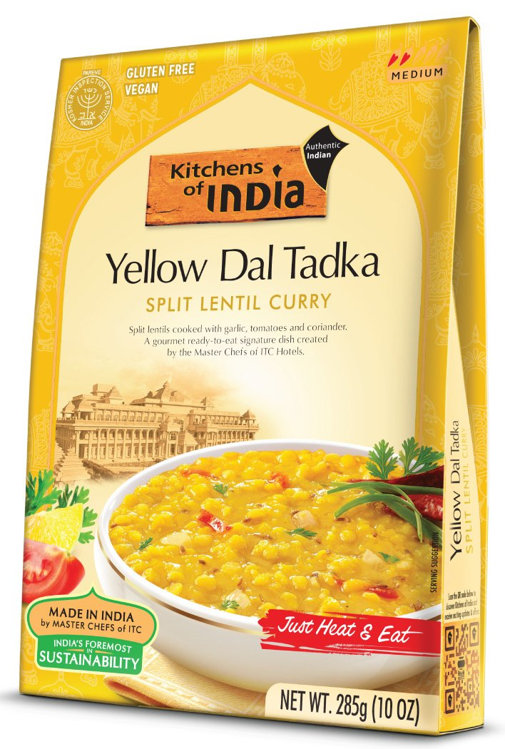 Kitchens of India Yellow Dal Tadka - Split Lentil Curry, 10 Ounce (Pack of 6)