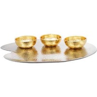 gold plated bowl with silver tray