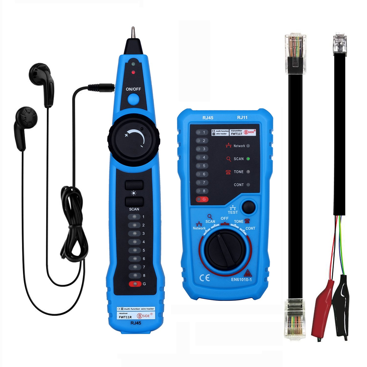 Wire Tracker Kit,RJ11 RJ45 CAT5 CAT6 Cable Tester Line Finder Multifunction Wire Tracer Toner Ethernet LAN Network Cable Tester for Network Cable Collation, Telephone Line Tester, Continuity Checking