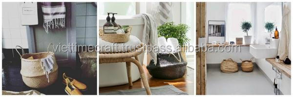 belly seagrass baskets are used in bathroom