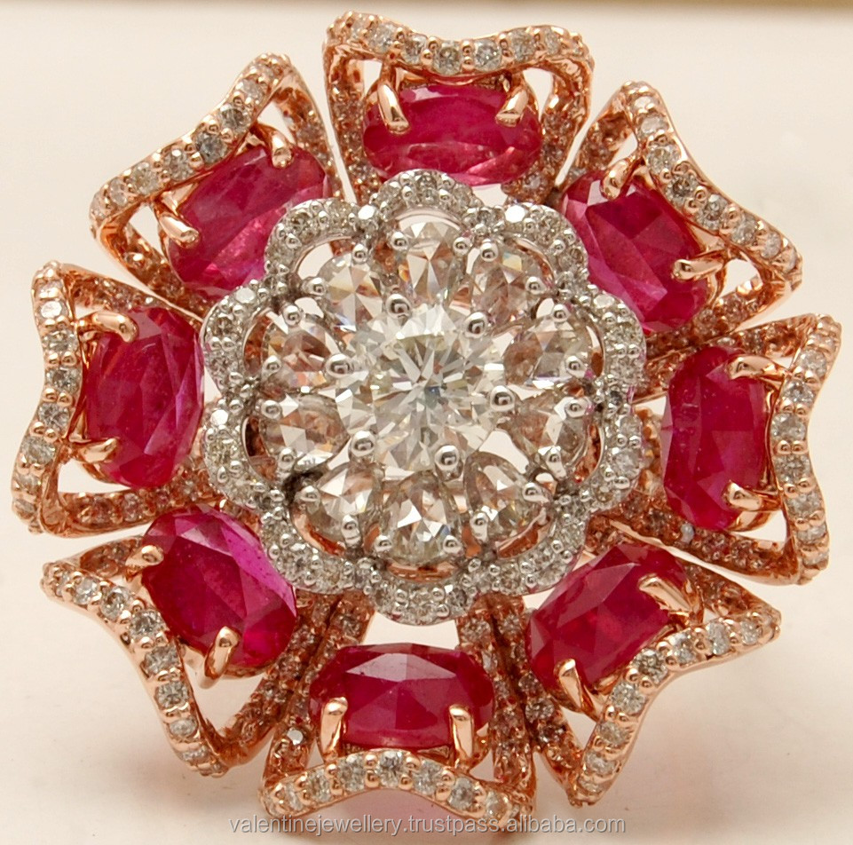 Ruby Wedding Rings.High Class Designer Big Floral Ruby Diamond Wedding Ring Buy Latest Design Diamond Ring Indian Wedding Ring Designs Gold Wedding Rings Product On