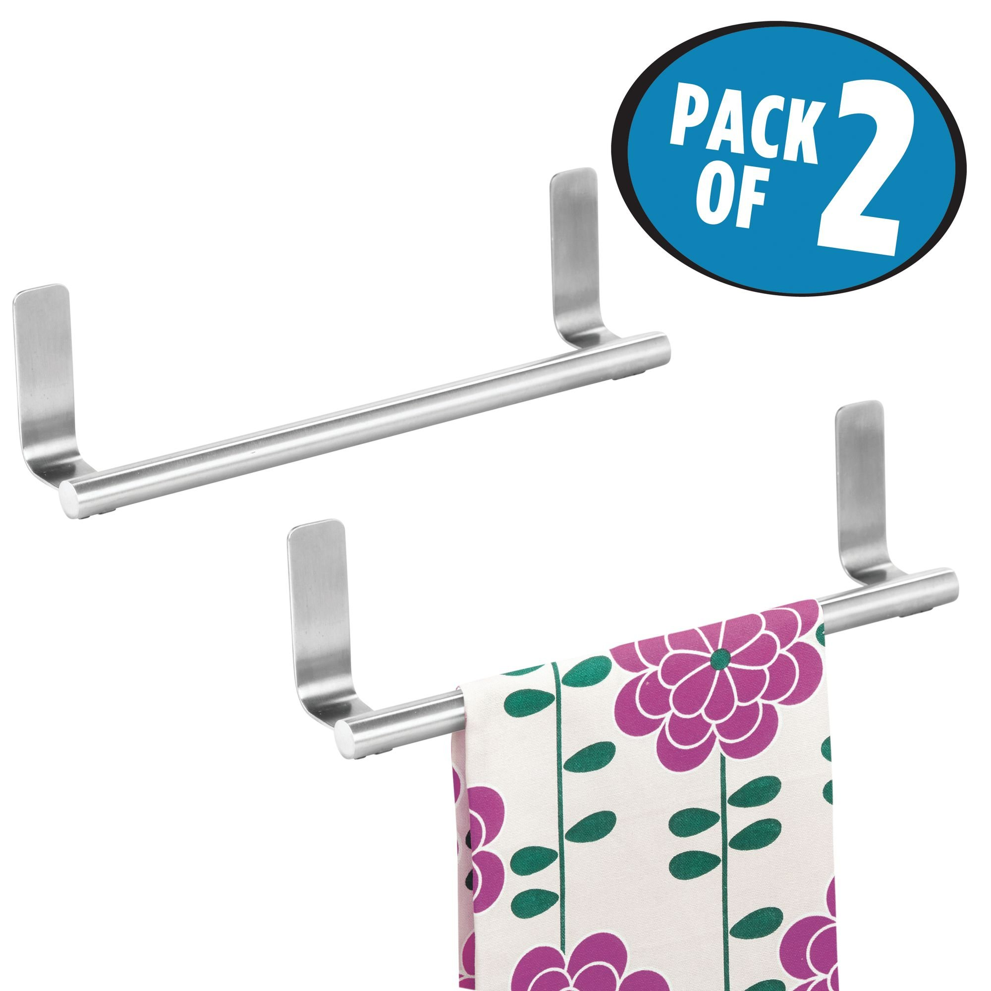 mDesign Self-Adhesive Towel Bar Holder for Bathroom or Kitchen - Pack of 2, Stainless Steel
