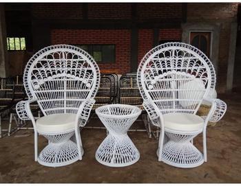 Twin Natural Rattan Peacock Chair Plus Table White Wicker Interior