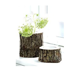Rustic Mango Wood With Tree Bark Round Flower Vases View Hadiya Noor Product Details From
