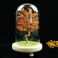 Large Heat-resistant Crystal Tree Glass Dome Display Bell Wood Base