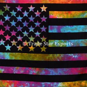Büyük Pamuk Kravat Boya Amerikan Bayrağı Duvar Sanat Hippie Boho