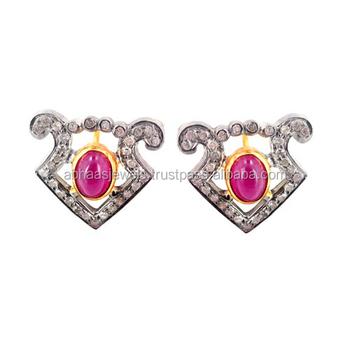 14k Gold Silver Pink Tourmaline Stud Earrings