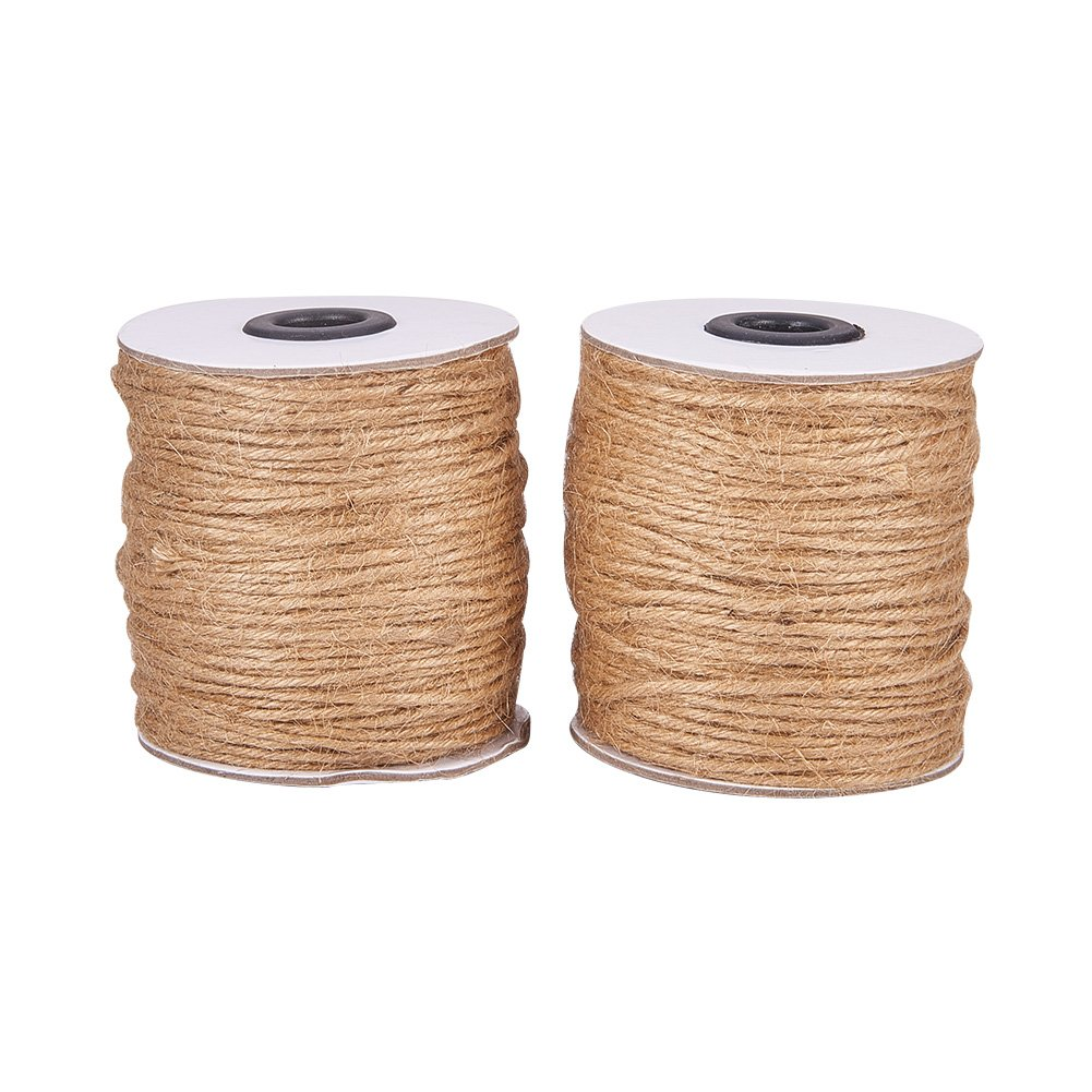 Pandahall (2 Rolls x 300 Feet) Natural Jute Twine 6-Ply Jute String Rope 2mm Hemp Rope Jute Cord for DIY and Crafts, Gift Wrapping