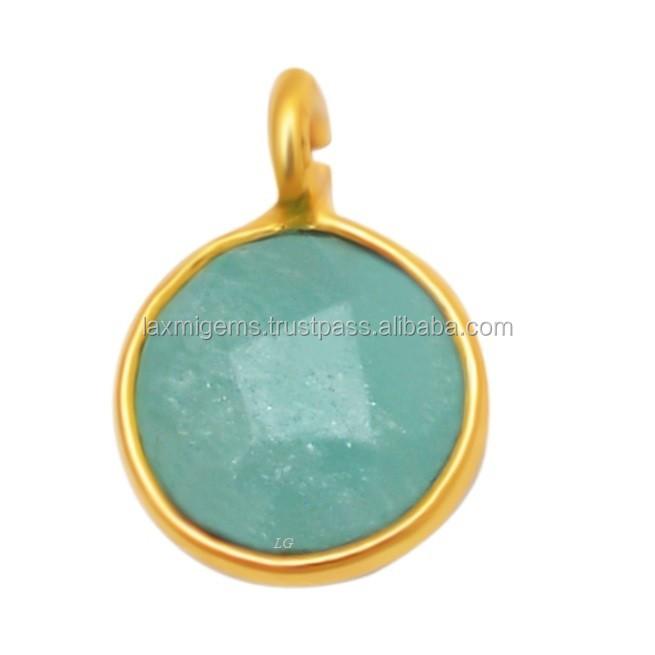 Facette Topaze Bleue Soleil Argent Sterling 925 6-Gem Pendentif