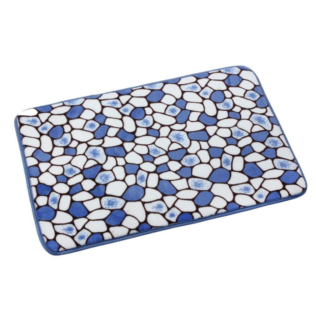 Marble Patterns Floor Carpet,Highpot Non-slip Removable Memory Foam Mat Bath Rug Shower Non-slip Floor Carpet (Blue)