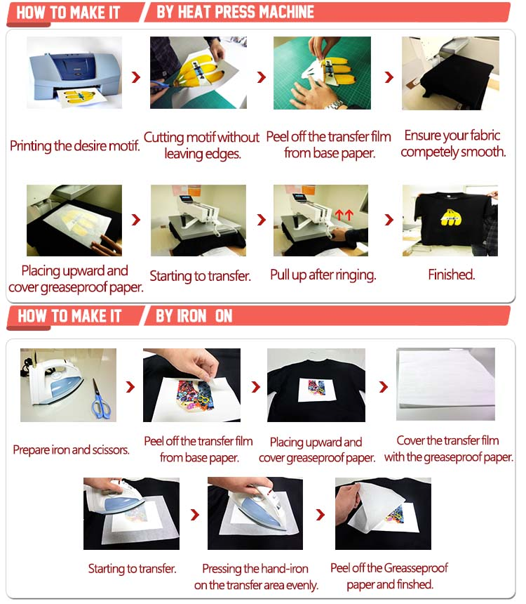 Free Sample 2 step iron all dark heat transfer paper