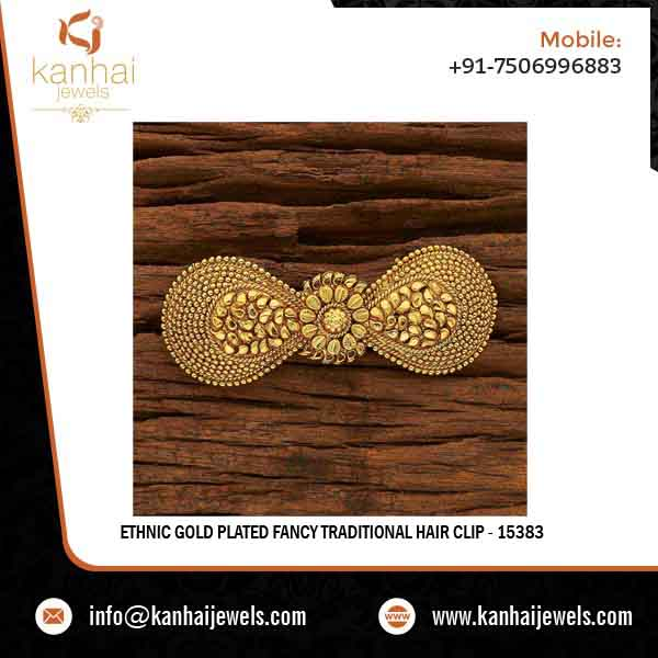 Ethnic Gold Plated Fancy Traditional Hair Clip - 15383