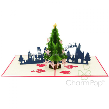 3d pop up christmas cards pop up cards best quality best price Christmas city night pop up card