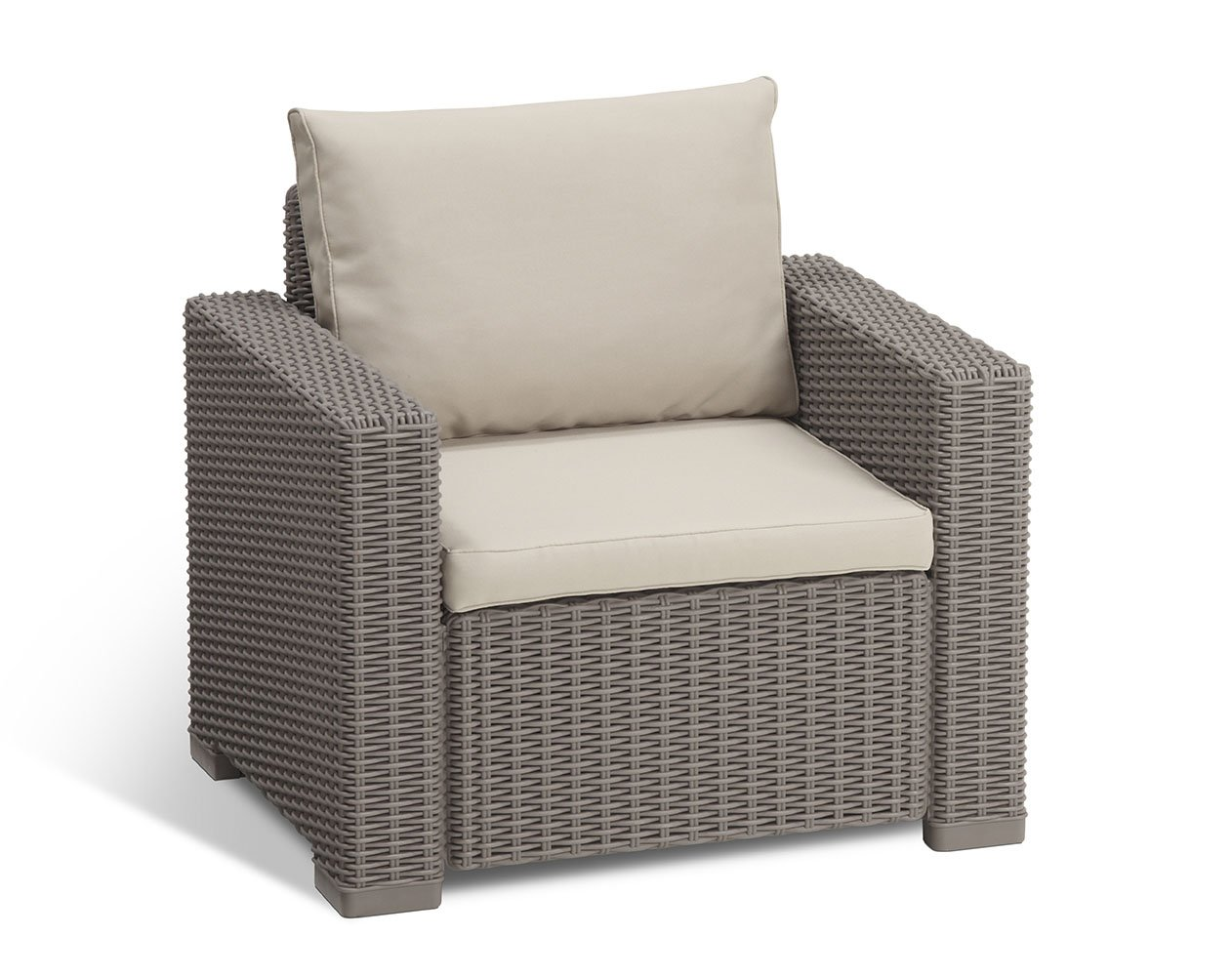Keter California All Weather Outdoor Patio Armchair with Cushions in a Resin Plastic Wicker Pattern, Cappuccino/Sand