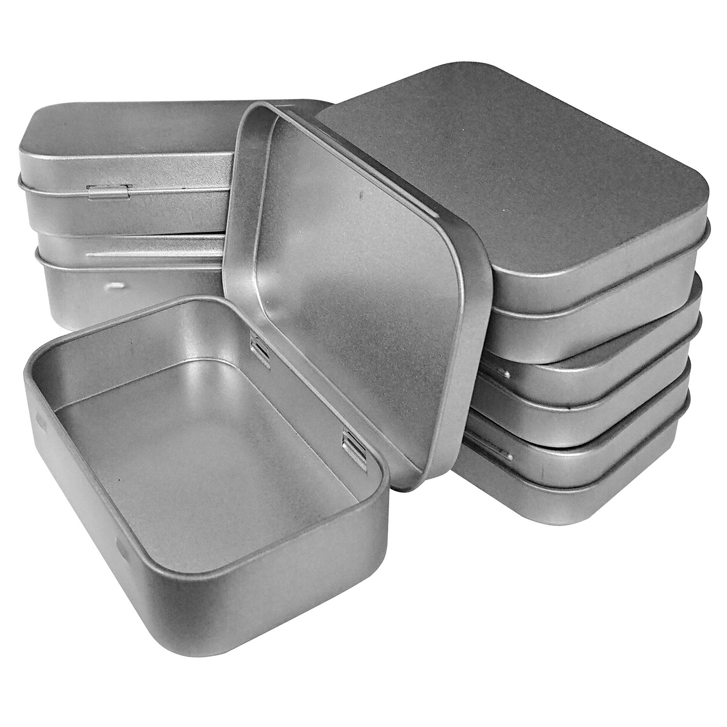 Hulless 3.75x2.45x0.8 Inch (6pcs) Metal Hinged Top Tin Box Containers,Mini Portable small storage containers Kit,Tin Box Containers,small tins with lids,craft containers,Tin empty boxes,Home Storage.