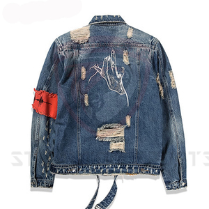 custom logo design 100% cotton washed tinted wholesale men jeans jacket denim bomber jacket
