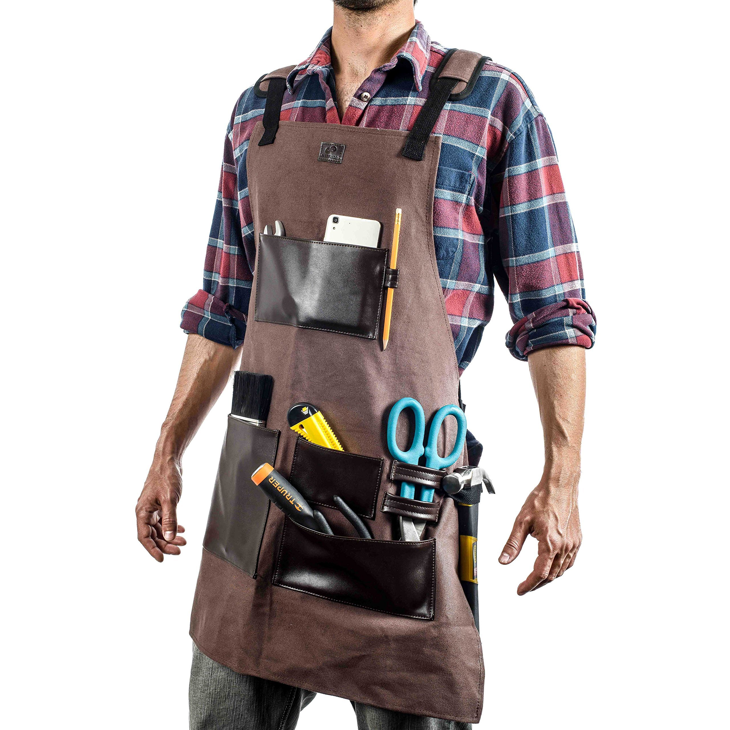 EVERPRIDE Waxed Canvas Tool Apron With Leather Pockets & Adjustable Straps | For Electricians, Carpenters, Chefs, BBQ, Bartenders, Plumbers, Butchers & More | Waterproof & Durable