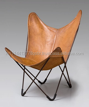 antibrown leather metal butterfly chair