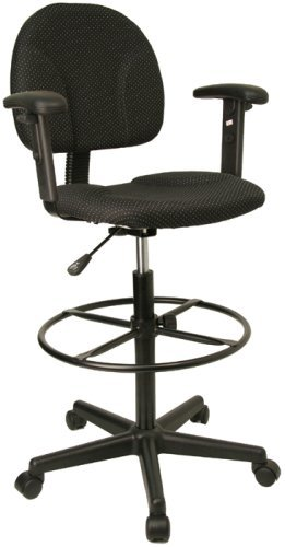 Ergonomic Multi Function Drafting Office Stool with Adjustable Arms (Adjustable - 26'' - 30.5''H or 22.5'' - 27''H), Black