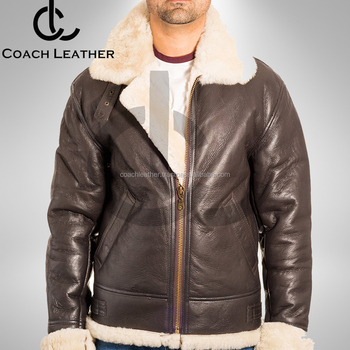 Leather Bomber Jacket Men S Brown Aviator B 3 Real Shear Ling
