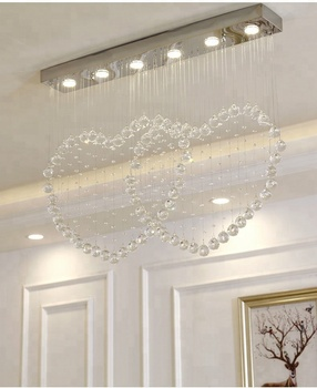 Double Heart Hanging Warm White Chandelier for Dining Room Wedding Restaurant