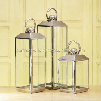 Stainless Steel Set of 3 Pcs lantern candle holder With Mirror Polished Finish for Outdoor and Indoor Use