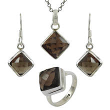<span class=keywords><strong>환상적인</strong></span> smoky gemstone jewelry set 925 sterling silver 수 제 jewellery 온라인 도매 supplier
