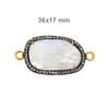 14k Gold Gemstone Jewelry Findings Pave Diamond Moonstone Connectors