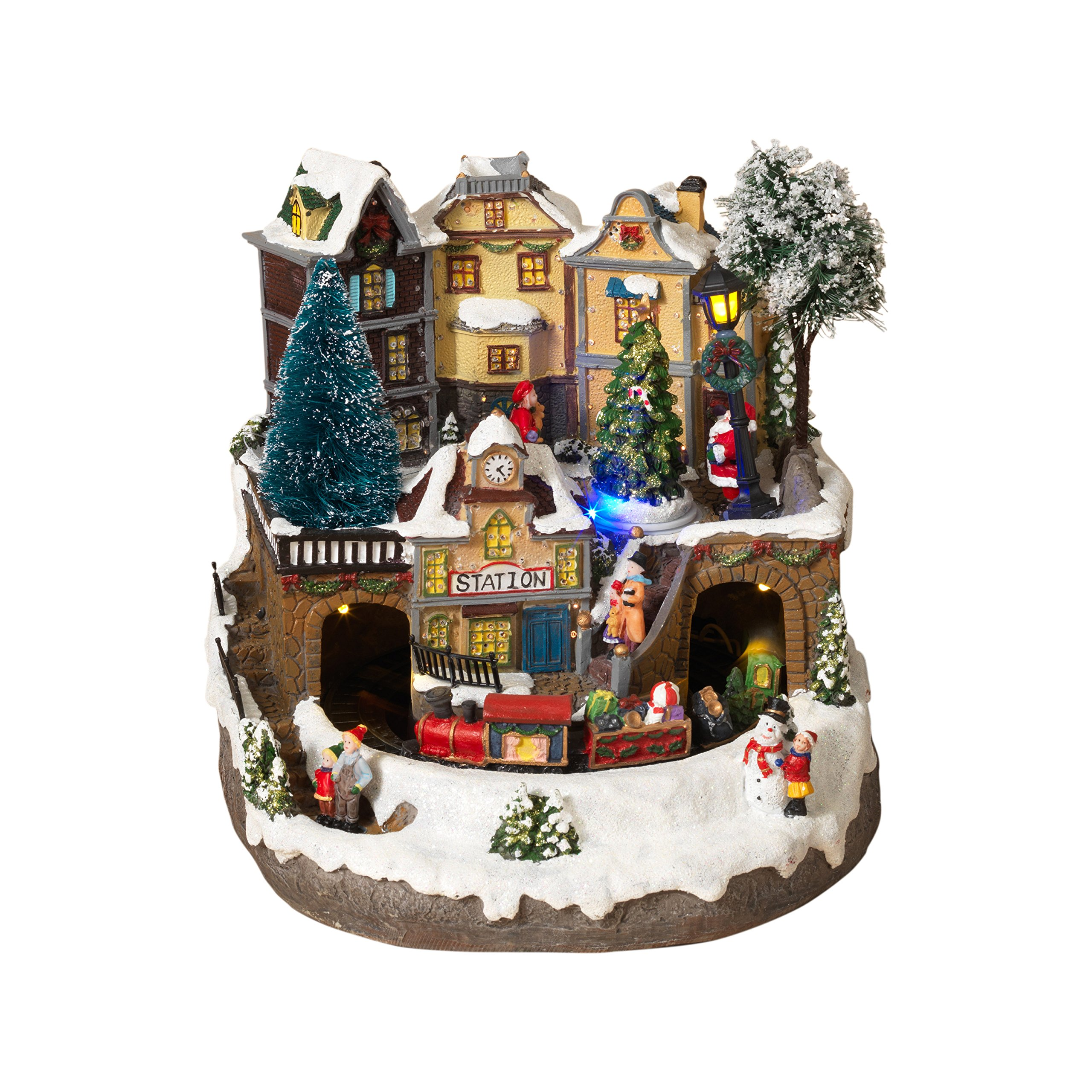 get quotations led lighted fiber optic animated snowy christmas village scene with train - Animated Christmas Scene Decorations