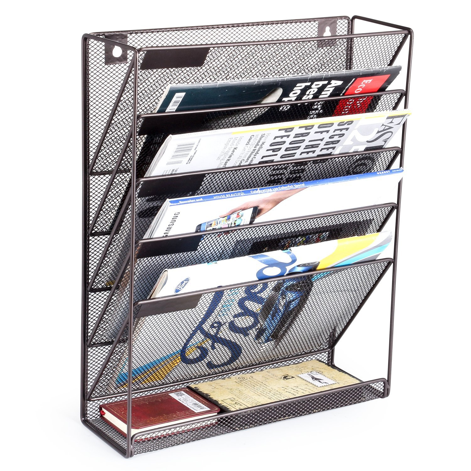 Living Room Furniture Metal Wire Wall Magazine Rack Bin Newspaper Rack Wall Mounted Mail Sorter With Chalkboard Label Online Discount