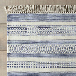 best quality handmade blue beige cotton durry