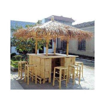 Bamboo Tiki Bar Set With Stools