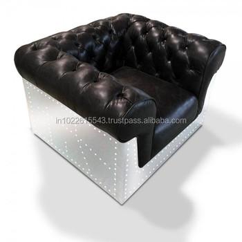 Genuine Leather Aviator Chesterfield Sofa Chair Buy Single Sofa