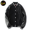 BSCI iGift Cotton Thick Black Color Fleece Leather Sleeves with Lining School Leaver Varsity Jacket