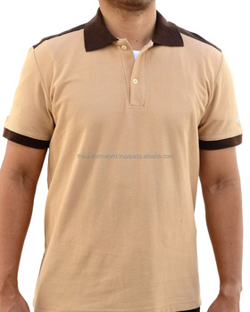 4fbbe7840 2-Tone Polo T Shirt Collar Beige with Choco Brown Contrast for Work Wear  Uniform