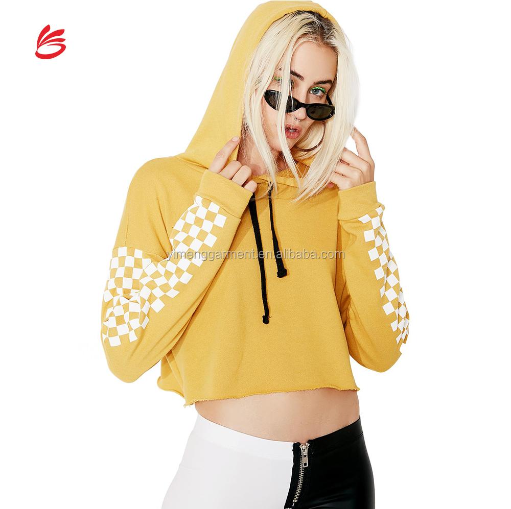 0e46d4f0d47ca8 2018 Custom Crop Top Hoodie Woman Sublimation Logo Hoody Cropped Sweatshirt