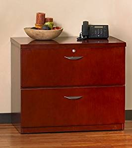 "Mayline Mira Two Drawer Lateral File Dimensions: 34 5/8""W X 24""D X 29 3/8""H Security Lock Included - Medium Cherry"