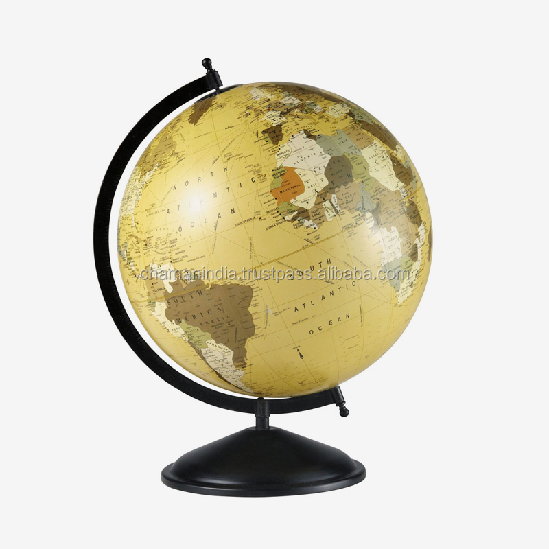 White World Globe Map  on Silver Stand