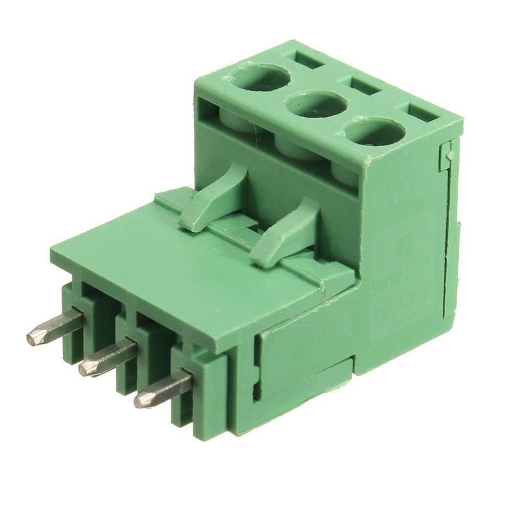 TOOGOO(R) 10Pcs 5.08mm Pitch 3Pin Plug-in Screw PCB Terminal Block Connector Right Angle