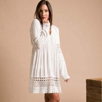 Personalized New Design Full Sleeves V-Neck Front Buttons Bottom Lace Back Tie Women Casual Tunic