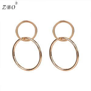 Fashion Simple Metal Office Lady Style Copper Clasped Round Dainty Charm 8 Number Hoop Earring