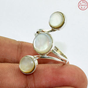 White shell gemstone ring offers wholesale jewelry handmade 925 sterling silver jewelry ring