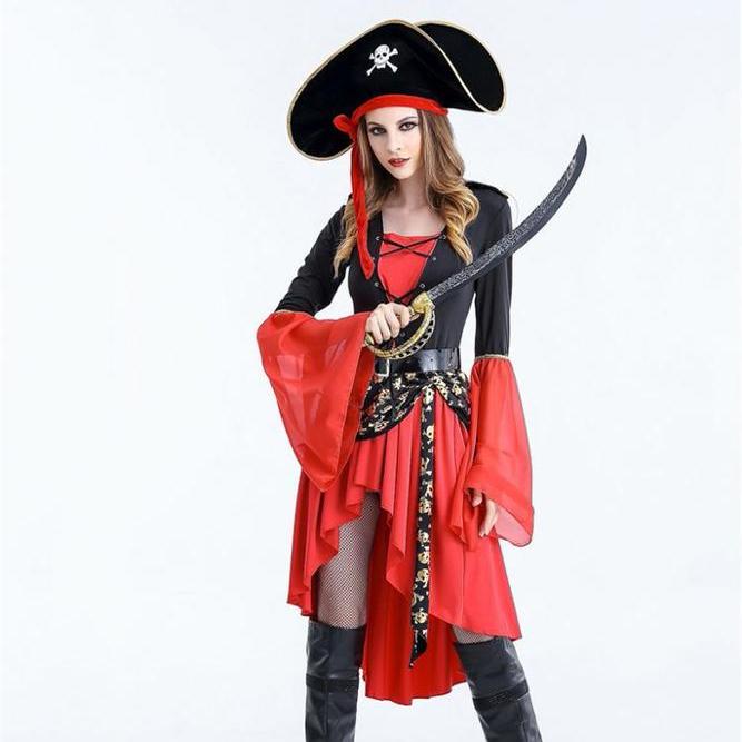 42fadc39d40 La sra pirata adulto Cosplay Sexy rojo de mostrar traje de mujer vestido de  fiesta