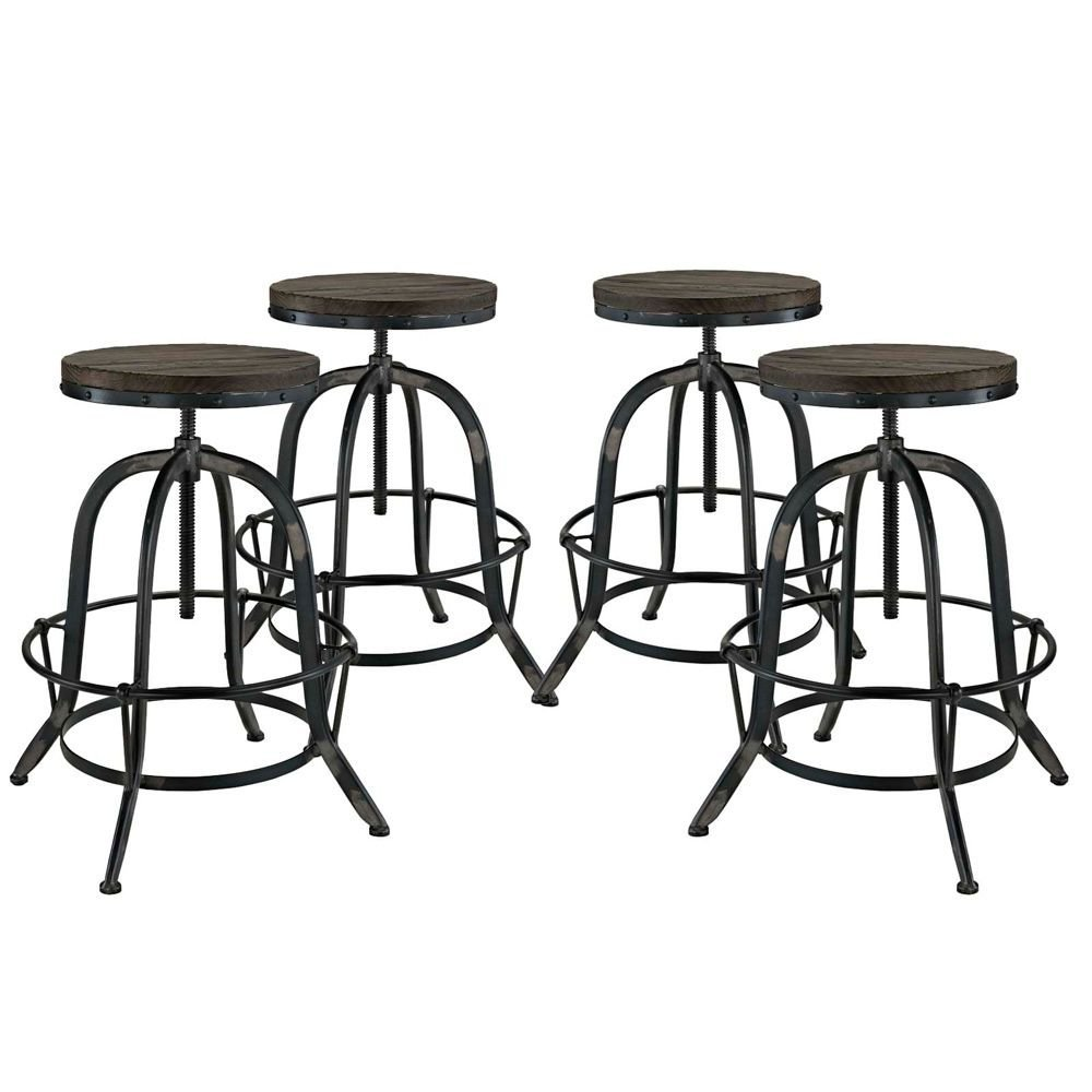 """Bar Stool Set of 4 Dimensions: 23.5""""W x 94""""D x 22-33""""H Weight: 46 lbs Brown"""