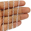 Silver Plated Copper Oval Coin Chains - little Oval Flat Soldered Cable Chain